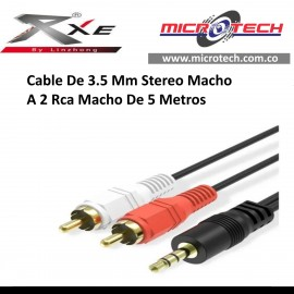 Cable De 3.5 Mm Stereo Macho A 2 Rca Macho De 5 Metros
