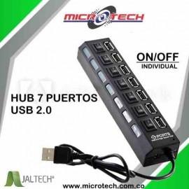 Hub 7 Puertos Usb 2,0 Con Interruptores