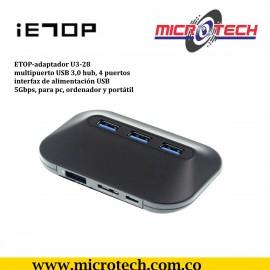 IETOP-adaptador U3-28 multipuerto USB 3,0 hub, 4 puertos