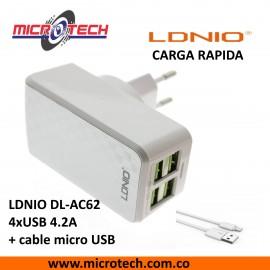 Adaptador de cargador 4 puertos LDNIO DL-AC62