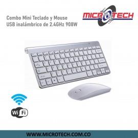 Combo mini teclado y mouse USB inalámbrico de 2.4GHz 908w