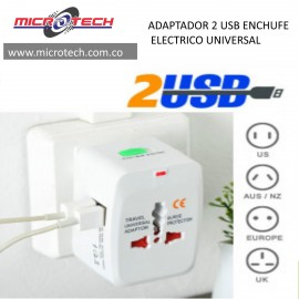 ADAPTADOR 2 USB ENCHUFE ELECTRICO UNIVERSAL
