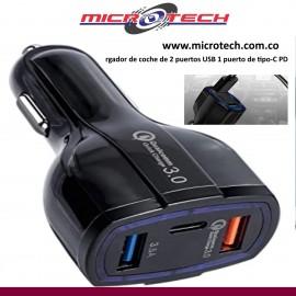 cargador de coche de 2 puertos USB 1 puerto de tipo-C
