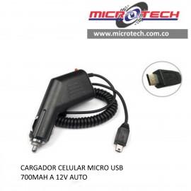 CARGADOR CELULAR MICRO USB A 12V AUTO