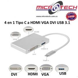 4 en 1 Tipo C a HDMI VGA DVI USB 3.1