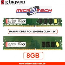 Memoria DDR4 PC4-2666 (2666 MHz) CL19, 8 GB Kingston