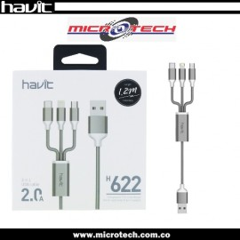Cable 3 En 1 Havit Carga Rap iPhone Android Usb Micro Tipo C