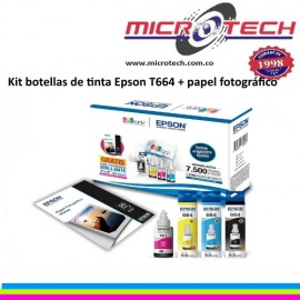 Kit botellas de tinta Epson Ecotank T664 + papel fotográfico