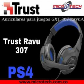 Audifono Diadema Gamer Trust Gxt 307 Ravu Ps4 Negro Azul