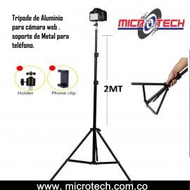 Trípode de aluminio para cámara web , soporte l para teléfono