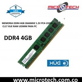MEMORIA DDR4 4GB 2666MHZ 1.2V PC4-19200 XUE RAM UDIMM PC